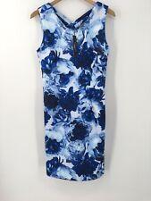 New T Tahari Sleeveless Floral Printed Scuba Dress Sz 4 Blue V-Neck Strappy Back
