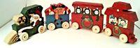 Christmas #4 Piece Train Set Wooden Mini Painted  Decor Gift  Santa Elves Bear