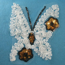 1 WHITE / SEQUIN APPLIQUE EMBELLISHMENT SEW ON DRESSMAKING MOTIF 190x160mm HL470