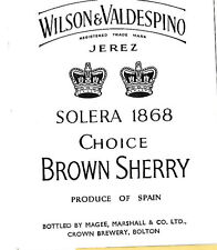 CHOICE BROWN SHERRY JEREZ - VINTAGE LABEL- MAGEE, MARSHALL & CO LTD BOLTON LANCS