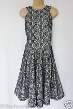 NEXT BNWT  black cream lace overlay skater high neck cut out back dress 14 T