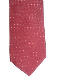 "Royal Classic Men's Silk Tie 58 X 3.75"" Burgundy w/ silver dots Geometric Weave"