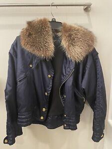 Bogner winter ski jacket vintage fur collar navy with gold details size 6
