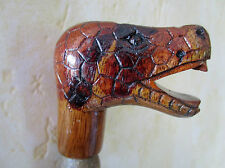 poignée de canne/parapluie -animal en bois sculpté main polychrome -serpent