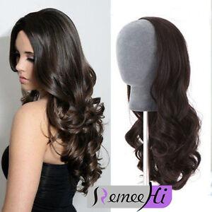 "Glueless 15""-22"" Machine weft cap wavy Remy Human Hair  3/4 Half Wig 140g-220g"