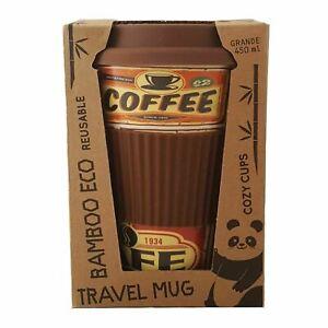 Cozy Time Eco-Friendly Bamboo Reusable 450ml Travel Mug - Retro Signs