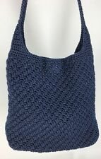 The Sak ROMAG Crocheted Fully Lined Blue Hobo Shoulder Bag Handbag Purse