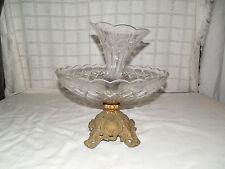 Vintage glass center piece bowl compote w/cast metal base