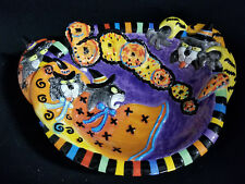 Halloween Ceramic Cat Kitty Witches Candy Bowl Basket Treat Dish Fritz & Floyd