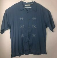 Monte Carlo Mens Blue Short Sleeve Hawaiian Embroidered Shirt Size 2xL 50/52