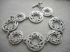 Carolyn Pollack Relios Sterling Silver Textured Circle Bracelet    651C
