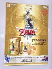 The Legend of Zelda Skyward Sword RARE Wii 57cm x 73cm Promo Poster POS
