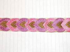 pink lilac gold jacquard embroidered ribbon applique motif trimming decor