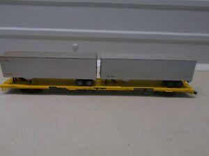 ATHEARN~ TRAILER TRAIN~FLAT CAR #477312~ W/2 TRAILERS~HO SCALE