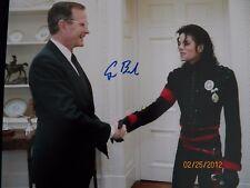 President Bush autographed photo w/ Michael Jackson