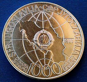 1000 Dinara 1980. Tito's Death, Yugoslavia silver coin, 25.9 grams !