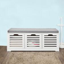 SoBuy®Banco de almacenaje con cojines y 3 cubo,entrada zapato,blanco,FSR23-W,ES