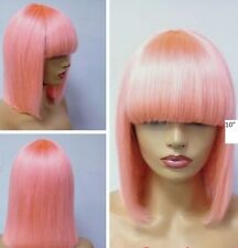 pastel pink bold and subtle ombre brazilian Human Hair pixie bob light pink wig