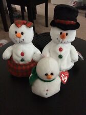 TY Beanie Babies Snowman Family Christmas Coolstina Coolstan Lil' Snow