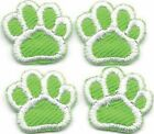 Lot of 4 Green White Dog Animal Paw Print Embroidery Patch