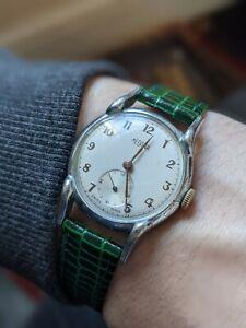 Gents Vintage Medana Military Style Fork Lug Rare Wind Watch - Working