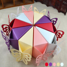 50PCS CAKE Butterfly Favor Ribbon Gift Box Candy Boxes Wedding Sweet Party Decor
