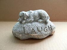 "Vintage Lying Dog Hide a Key Fake Garden Rock"" Laugh"" 5.5"" L"