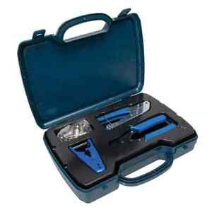 """Data Shark 70019 70014 70001 Complete Network Tool Kit Cable TV""""F"""" Coax Crimper"""