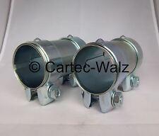 2 Stück Auspuff Rohrverbinder / Rohrverbinder / Doppelschelle 76 x 125 mm