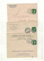 SWITZERLAND 1909-10 three DIFFERENT ADVERT ENVELOPES