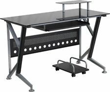 Modern Black Glass Computer Desk w/Pull-Out Keyboard Tray & CPU Cart