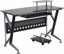 Modern Black Glass Computer Desk Withpull Out Keyboard Tray Amp Cpu Cart