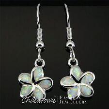 Plumeria White Fire Opal Inlay Silver Jewelry Dangle Drop Earrings