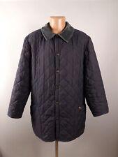 Barbour Mens Navy Blue Liddesdale Corduroy Neck Quilted Jacket Coat Size L