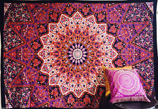 Indian Tapestry Wall Hanging Mandala Psychedelic Hippie Throw Bedspread Multi Purple Orange Star (double)