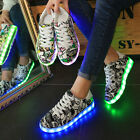 New Unisex LED Light UP Shoes Luminous Sportswear Sneaker Graffiti Casual Shoes