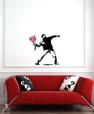 "WALL - Banksy Molotov Guy w Flowers - Vinyl Wall Decal (24""w x 24""h)(BLACK/RED)"