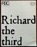 Richard the Third, RSC Stratford Theatre Programme 1970