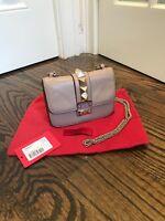 Pre Own Valentino Rockstud Mini Glam Lock Flap Beige Crossbody Shoulder Bag