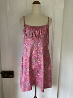 Vintage Y2K 90s Pink Paisley Print Shift Dress Strappy ruched bodice knee length