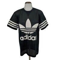 New Adidas Womens Black Mesh Jersey Shirt White Trefoil Size Small