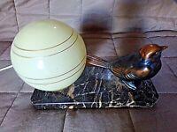 Ancienne lampe chevet-oiseau-moineau art-déco-veilleuse boule en verre jaune