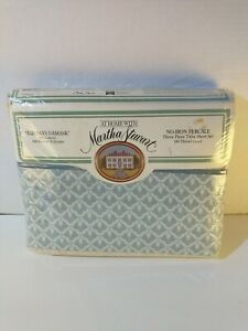 VTG AT HOME WITH MARTHA STEWART NO IRON PERCALE 3 PIECE TWIN SHEET SET NOS