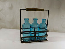 Blue Glass Bottles Vase Caddy Rack Rustic Primitive Farmhouse Home Decor Metal