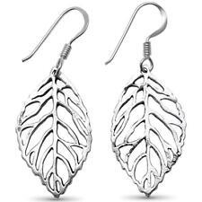 Sterling Silver Earrings Plain Feather Leaf .925