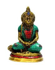 Hanuman Statue God Hindu Turquoise Brass Monkey Metal Sculpture Lord Idol #1