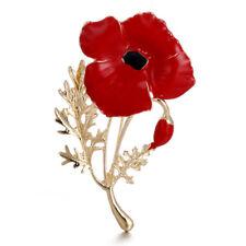 Enamel Brooch Red Poppy Flower Brooch Pin Women Mother's Day Love Family^Jewelry