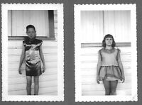 Lot of 2 VTG Photos Snapshots TWO YOUNG GIRLS POSING BY SIDE OF BUILDING