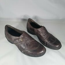 Clarks Bendables Brown Leather Slip On Low Heel Shoes Womens 7.5M