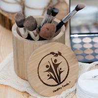 BAMBOO STORAGE JAR. Makeup organiser. COSMETIC ORGANISER . Makeup brush holder.